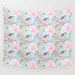 Bluebirds and Shabby Chic Roses on Paris Blue Wall Tapestry