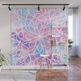 Artsy Abstract Girly Pink Blue Floral Paint Art Wall Mural
