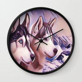 A Pair of Siberian Huskys Wall Clock