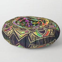 Colorful Gold framed Sri Yantra Sri Chakra Floor Pillow