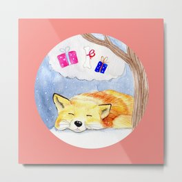 Sleeping fox with coral pink background Metal Print