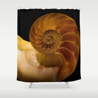 shell Shower Curtains featuring shell by littlesilversparks