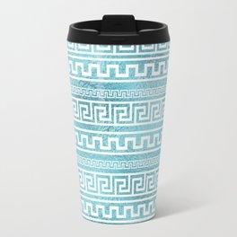 Gentle Blue Greek Meander Pattern on glass Travel Mug