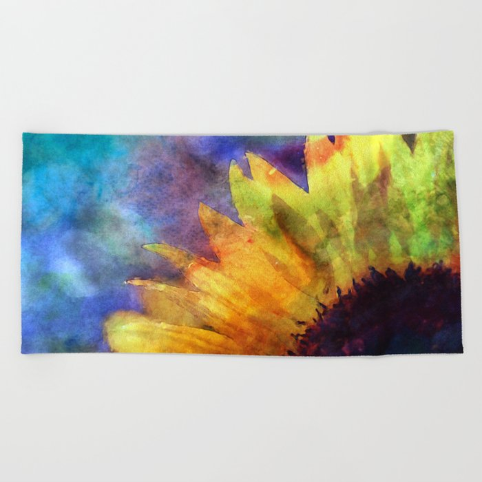 Sunflower Flower Floral on colorful watercolor texture Beach Towel