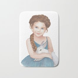 Little girl stroking  bunny Bath Mat