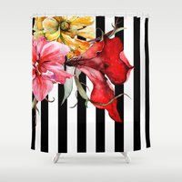 flora Shower Curtains featuring FLORA BOTANICA | stripes by Cheryl Daniels