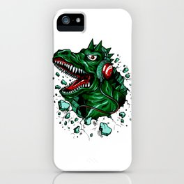 Dino with Headphones Green British Racing iPhone Case