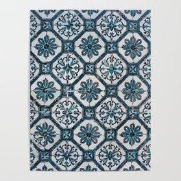Floral ceramic tile design in blue color #Terrazzo #Blobs Poster