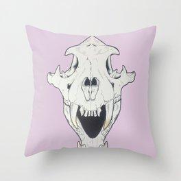 Tiger Skull w/ gold Throw Pillow