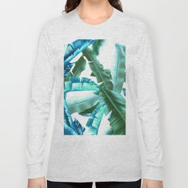 tropical banana leaves pattern turquoise Long Sleeve T-shirt