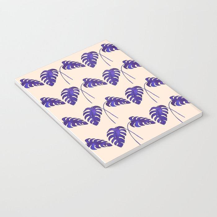 Indigo Monstera Leaf Watercolor on Blush Notebook