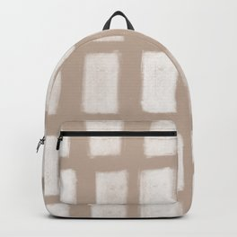 Brush Strokes Vertical Lines Off White on Nude Backpack
