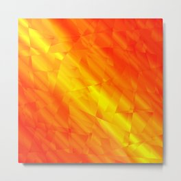 Glowing metallic red fragments of yellow crystals on irregularly shaped triangles. Metal Print
