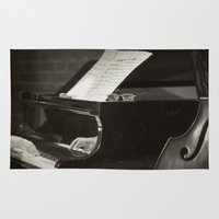 music notes Area & Throw Rugs featuring Grand Piano and Music Notes by cinema4design