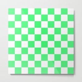 Cheerful Green Checkerboard Pattern Metal Print