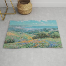 Malibu Coast, California with wild poppies floral seascape painting by Granville Redmond Rug