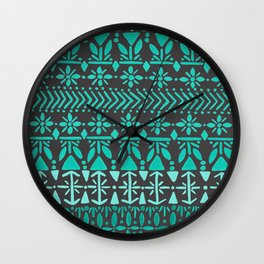 Norwegian Pattern – Aqua on Charcoal Wall Clock