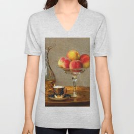 Refreshments, Cognac, a Rose, and Peaches still life by Emma Magnus for kitchen or dinning room Unisex V-Neck