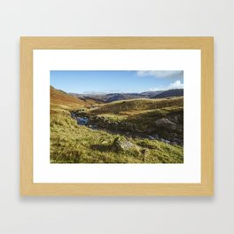 Views of Honister Pass and Hause Gill above Seatoller. Lake District; UK. Framed Art Print