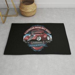 American Hot Rods Garage Vintage Car Sign Cartoon Rug