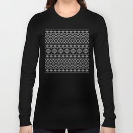 Aztec Essence Ptn III Grey on Black Long Sleeve T-shirt