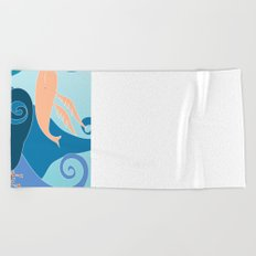 flying whale Beach Towel