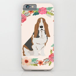 basset hound floral wreath dog gifts pet portraits iPhone Case