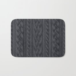 Charcoal Cable Knit Bath Mat