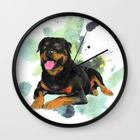 rottweiler Wall Clocks featuring Rottweiler happy by Cami Landia