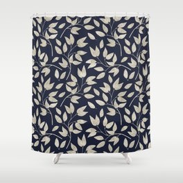 Abstract Silver leaves Navy Blue Inspiring Words Typography Shower Curtain