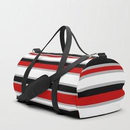 Modern Horizontal Stripes // Red, Gray, Black and White Duffle Bag