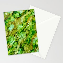 Shades of Green: Original Abstract Alcohol Ink Painting Stationery Cards
