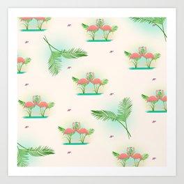 Flamingos in love Art Print