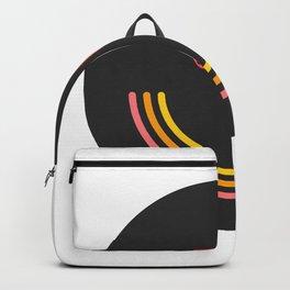 Acid House - Weird - Face - Emoji - Black - Rainbow Backpack