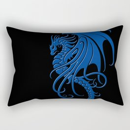 Flying Blue and Black Tribal Dragon Rectangular Pillow
