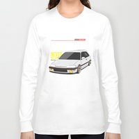 honda Long Sleeve T-shirts featuring Honda Civic EF Hatchback by Nineties Customs