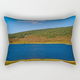 Calm water pond with greenery on mountain in background Rectangular Pillow