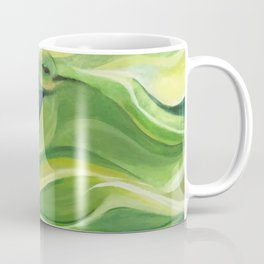 Humming Bird/Acrylic Bird Paint/ Green and Yellow Coffee Mug