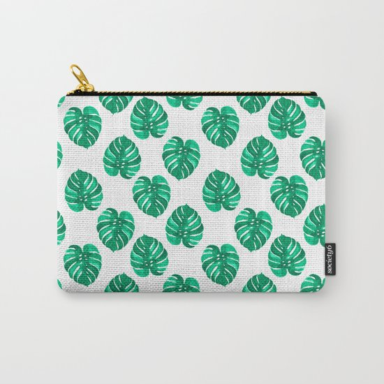 Monstera house plant leaf green painting pattern trendy hipster indoor house plant tropical garden   Carry-All Pouch