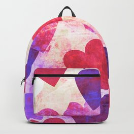 Fab Pink & Purple Grungy Hearts Design Backpack