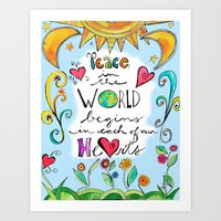 Peace in the World Begins in Our Hearts by Jessica Sporn Art Print