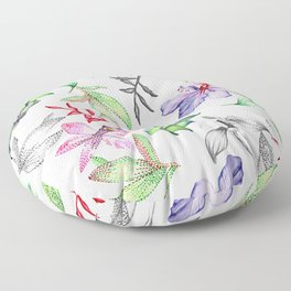 Flowers and leaves Floor Pillow