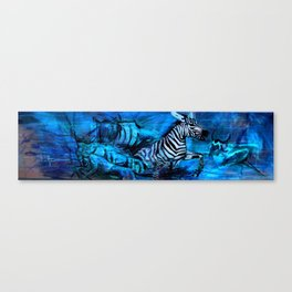 Zebra (Blue) Canvas Print