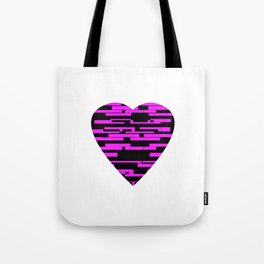 Glitching Hearts — Black and Pink Tote Bag