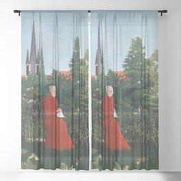 Henri Rousseau - Portrait of a Woman in a Landscape Sheer Curtain