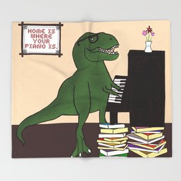 T-Rex Piano Throw Blanket