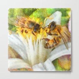 Bees and Flowering Plants Watercolor Metal Print