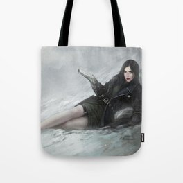 Gunslinger - Badass girl with gun in the snow Tote Bag