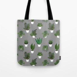 Houseplants Illustration (grey background) Tote Bag