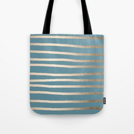 Abstract Drawn Stripes Gold Tropical Ocean Blue Tote Bag